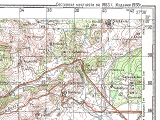 Reduced fragment of topographic map ru--gs--100k--j35-019--N039-40_E027-00--N039-20_E027-30; towns and cities Edremet, Havran