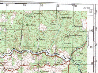 Reduced fragment of topographic map ru--gs--100k--j35-022--N039-40_E028-30--N039-20_E029-00; towns and cities Dursunbey, Catalcam, Gokcedag