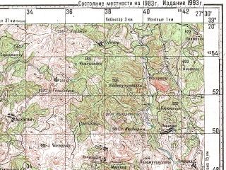 Reduced fragment of topographic map ru--gs--100k--j35-031--N039-20_E027-00--N039-00_E027-30; towns and cities Bergama, Karaveliler, Kozak