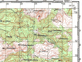 Reduced fragment of topographic map ru--gs--100k--j35-033--N039-20_E028-00--N039-00_E028-30; towns and cities Sindirgi