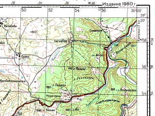 Reduced fragment of topographic map ru--gs--100k--j35-036--N039-20_E029-30--N039-00_E030-00; towns and cities Comlekci, Hacibekir