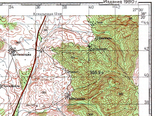 Reduced fragment of topographic map ru--gs--100k--j35-067--N038-20_E027-00--N038-00_E027-30; towns and cities Torbali, Gaziemir
