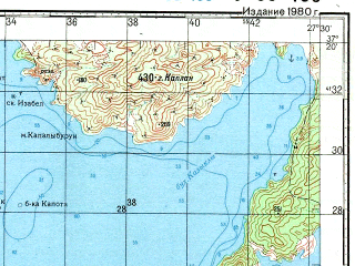 Reduced fragment of topographic map ru--gs--100k--j35-103--N037-20_E027-00--N037-00_E027-30; towns and cities Bodrum, Ortakent