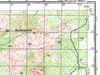 Reduced fragment of topographic map ru--gs--100k--j35-105--N037-20_E028-00--N037-00_E028-30; towns and cities Mugla, Ula