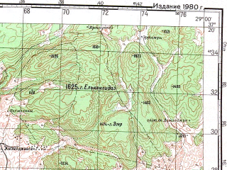 Reduced fragment of topographic map ru--gs--100k--j35-106--N037-20_E028-30--N037-00_E029-00; towns and cities Gericam