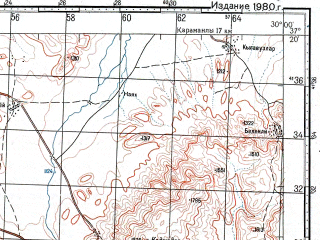 Reduced fragment of topographic map ru--gs--100k--j35-108--N037-20_E029-30--N037-00_E030-00; towns and cities Golhisar, Tefenni