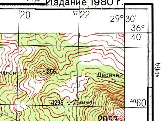 Reduced fragment of topographic map ru--gs--100k--j35-131--(1977)--N036-40_E029-00--N036-20_E029-30; towns and cities Fethiye