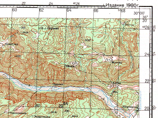 Reduced fragment of topographic map ru--gs--100k--j35-144--N036-20_E029-30--N036-00_E030-00; towns and cities Kas