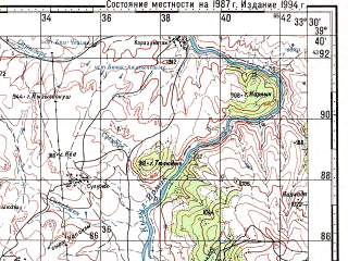 Reduced fragment of topographic map ru--gs--100k--j36-019--N039-40_E033-00--N039-20_E033-30; towns and cities Karakecili, Bala