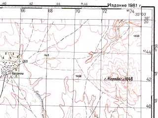 Reduced fragment of topographic map ru--gs--100k--j36-070--N038-20_E034-30--N038-00_E035-00