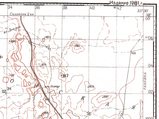 Reduced fragment of topographic map ru--gs--100k--j36-079--N038-00_E033-00--N037-40_E033-30; towns and cities Asakli