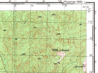 Reduced fragment of topographic map ru--gs--100k--j36-095--N037-40_E035-00--N037-20_E035-30