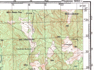 Reduced fragment of topographic map ru--gs--100k--j36-098--N037-20_E030-30--N037-00_E031-00