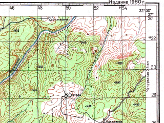 Reduced fragment of topographic map ru--gs--100k--j36-101--N037-20_E032-00--N037-00_E032-30; towns and cities Bagbasi, Bozkir
