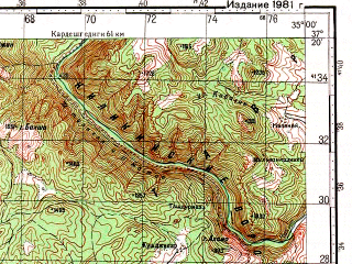 Reduced fragment of topographic map ru--gs--100k--j36-106--N037-20_E034-30--N037-00_E035-00; towns and cities Karagur