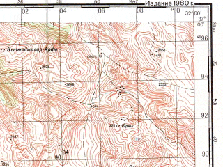 Reduced fragment of topographic map ru--gs--100k--j36-112--N037-00_E031-30--N036-40_E032-00; towns and cities Geris, Guneycik