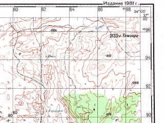 Reduced fragment of topographic map ru--gs--100k--j36-116--N037-00_E033-30--N036-40_E034-00; towns and cities Camili