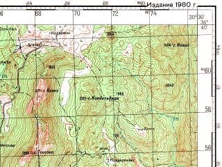 Reduced fragment of topographic map ru--gs--100k--j36-121--N036-40_E030-00--N036-20_E030-30; towns and cities Kumluca, Altinyaka
