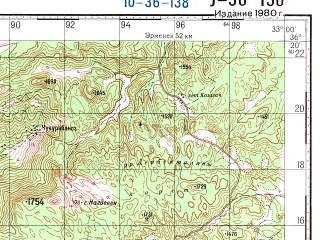 Reduced fragment of topographic map ru--gs--100k--j36-138--N036-20_E032-30--N036-00_E033-00; towns and cities Anamur, Masat
