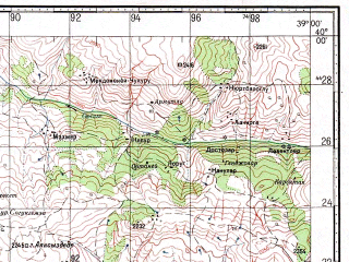 Reduced fragment of topographic map ru--gs--100k--j37-006--N040-00_E038-30--N039-40_E039-00; towns and cities Refaniye