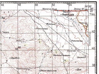 Reduced fragment of topographic map ru--gs--100k--j37-065--N038-20_E038-00--N038-00_E038-30; towns and cities Celikhan, Yesilyurt