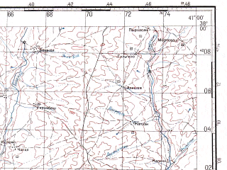 Reduced fragment of topographic map ru--gs--100k--j37-082--N038-00_E040-30--N037-40_E041-00; towns and cities Bismil