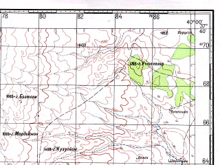 Reduced fragment of topographic map ru--gs--100k--j37-092--N037-40_E039-30--N037-20_E040-00; towns and cities Konukcu, Saffan