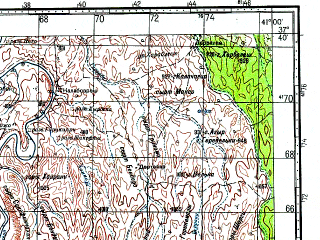 Reduced fragment of topographic map ru--gs--100k--j37-094--N037-40_E040-30--N037-20_E041-00; towns and cities Savur, Omerli