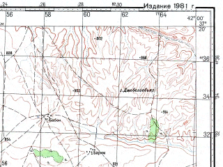 Reduced fragment of topographic map ru--gs--100k--j37-108--N037-20_E041-30--N037-00_E042-00; towns and cities Kengelli