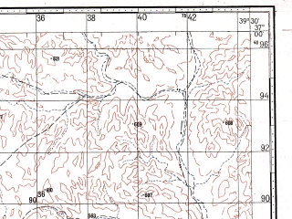 Reduced fragment of topographic map ru--gs--100k--j37-115--N037-00_E039-00--N036-40_E039-30; towns and cities Umuroba