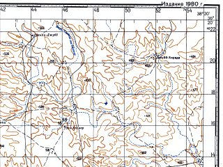 Reduced fragment of topographic map ru--gs--100k--j37-137--N036-20_E038-00--N036-00_E038-30; towns and cities Khirbat `uglah