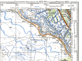 Reduced fragment of topographic map ru--gs--100k--j38-005--N040-00_E044-00--N039-40_E044-30; towns and cities Iggdir, Ahura