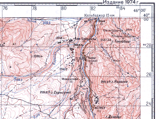 Reduced fragment of topographic map ru--gs--100k--j38-008--N040-00_E045-30--N039-40_E046-00; towns and cities Dzhermuk