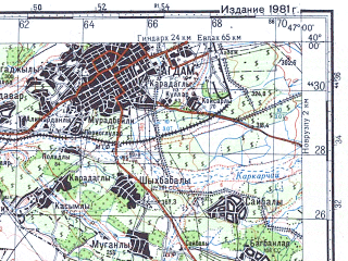Reduced fragment of topographic map ru--gs--100k--j38-010--N040-00_E046-30--N039-40_E047-00; towns and cities Agdam, Stepanakert, Shusha, Ballydzha