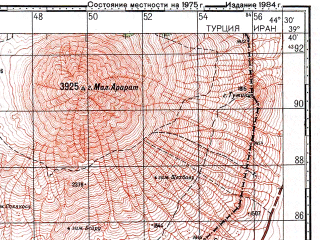 Reduced fragment of topographic map ru--gs--100k--j38-017--N039-40_E044-00--N039-20_E044-30; towns and cities Dogubayazit