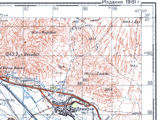 Reduced fragment of topographic map ru--gs--100k--j38-018--N039-40_E044-30--N039-20_E045-00; towns and cities Il'ichevsk