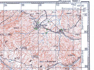 Reduced fragment of topographic map ru--gs--100k--j38-019--N039-40_E045-00--N039-20_E045-30; towns and cities Bash Norashen, Shakhtakhty