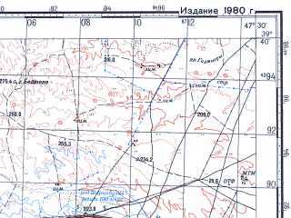 Reduced fragment of topographic map ru--gs--100k--j38-023--N039-40_E047-00--N039-20_E047-30; towns and cities Fizuli, Dzhebrail, Goradiz