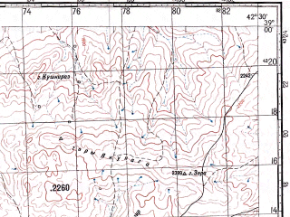 Reduced fragment of topographic map ru--gs--100k--j38-037--N039-00_E042-00--N038-40_E042-30; towns and cities Nazik, Seyrantepe