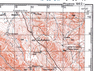 Reduced fragment of topographic map ru--gs--100k--j38-041--N039-00_E044-00--N038-40_E044-30; towns and cities Takuriengiz