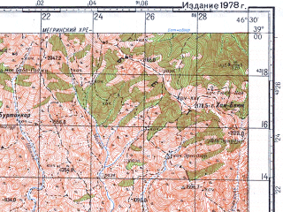 Reduced fragment of topographic map ru--gs--100k--j38-045--N039-00_E046-00--N038-40_E046-30; towns and cities Agarak, Ordubad, Megri