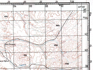 Reduced fragment of topographic map ru--gs--100k--j38-064--N038-20_E043-30--N038-00_E044-00; towns and cities Guzelsu