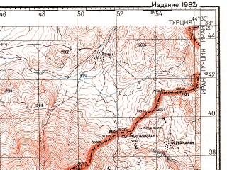 Reduced fragment of topographic map ru--gs--100k--j38-065--N038-20_E044-00--N038-00_E044-30; towns and cities Baskale, Tavik