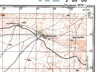 Reduced fragment of topographic map ru--gs--100k--j38-066--N038-20_E044-30--N038-00_E045-00; towns and cities Chahar Setun