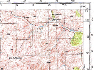 Reduced fragment of topographic map ru--gs--100k--j38-074--N038-00_E042-30--N037-40_E043-00; towns and cities Pervari, Elkif