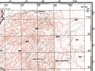 Reduced fragment of topographic map ru--gs--100k--j38-088--N037-40_E043-30--N037-20_E044-00; towns and cities Hakkari