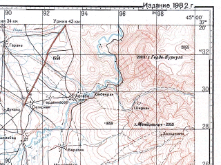 Reduced fragment of topographic map ru--gs--100k--j38-102--N037-20_E044-30--N037-00_E045-00; towns and cities Balikli, Dizaj