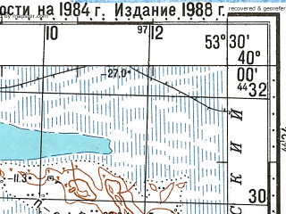 Reduced fragment of topographic map ru--gs--100k--j39-011--N040-00_E053-00--N039-40_E053-30; towns and cities Kizyl-su