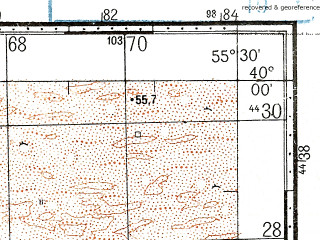Reduced fragment of topographic map ru--gs--100k--j40-003--N040-00_E055-00--N039-40_E055-30