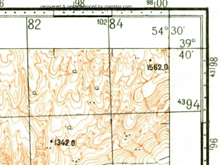 Reduced fragment of topographic map ru--gs--100k--j40-013--N039-40_E054-00--N039-20_E054-30; towns and cities Nebit-dag, Dzhebel